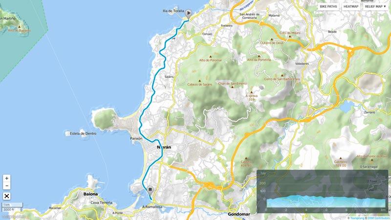 circuito de ciclismo del triatlon islas cies