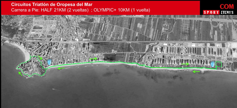 recorrido de carrera del triatlón de oropesa