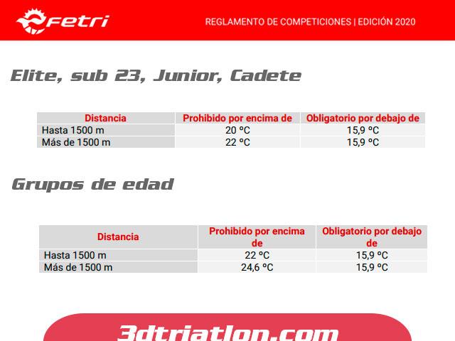 reglamento de triatlón en el sector de natación temperatura de traje permitido y prohibido